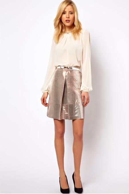 ASOS a-line skirt in metallic snake