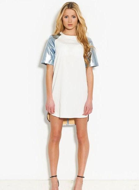 lavish alice off white and metallic dress