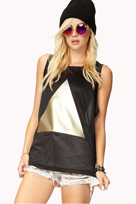 metallic triangle jersey - forever 21